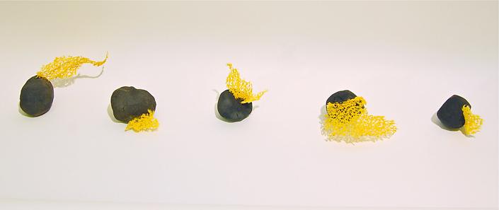 Neha Vedpathak - Curious, 2014, sand, graphite, plant based gum, 'plucked Japanese handmade paper'