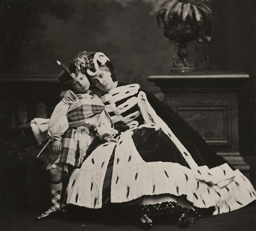 Pierre Louis Pierson - Countess de Castiglione and Her Son, 1860s/1930s, silver print, 3.25 by 3.5 inches, 11.5 by 9.5 inches framed