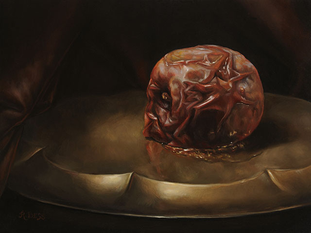 Rachel Bess - Rotting Apple, Supine, 2015, oil on panel, 6 by 8 inches, 9.25 by 11.25 inches framed