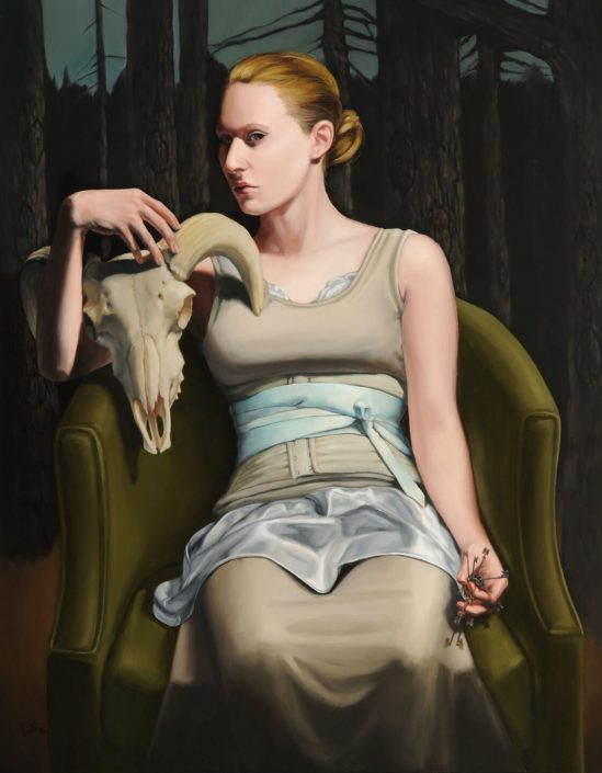 Rachel Bess - Gatekeeper to History, 2011, oil on panel, 14 by 11 inches