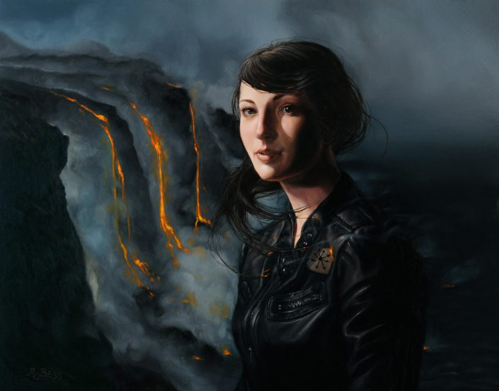 Rachel Bess - Hiding Out on the Moving Edge of Lava Island, 2013, oil on panel, 2013, 8 by 10 inches