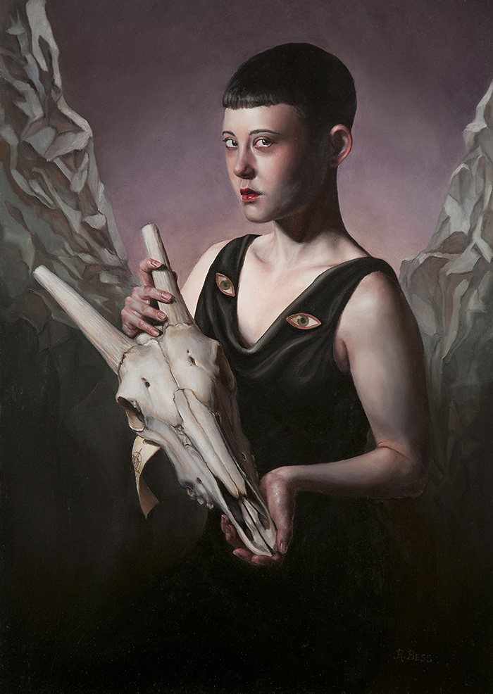 Rachel Bess - I'm Here to Guide You Home, 2018, oil on Dibond, 14 by 10 inches / 17.5 by 13.5 inches framed