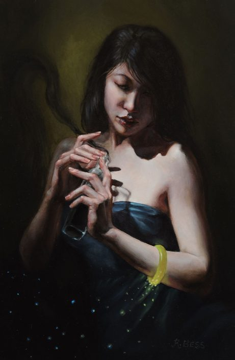 Rachel Bess - Lux Brings the Night, 2016, oil on panel, 6 by 4 inches