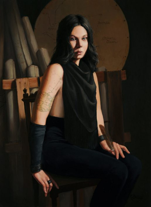 Rachel Bess - Mapmaker of Forbidden Places, 2012, oil on panel, 8 by 6 inches
