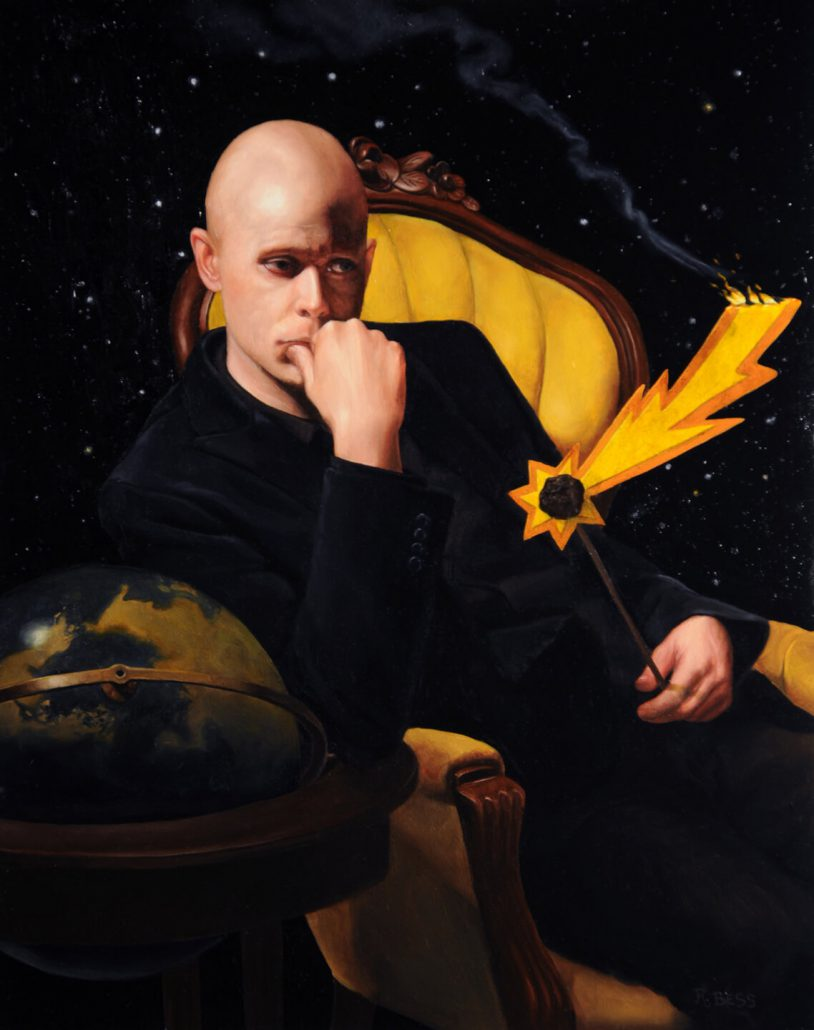 Rachel Bess - Meteor! (SOLD), 2013, oil on panel, 10 by 8 inches, 15.25 by 13.25 inches framed