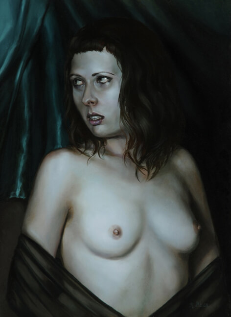 Rachel Bess - Midnight Surprise, 2015, oil on panel, 8 by 6 inches