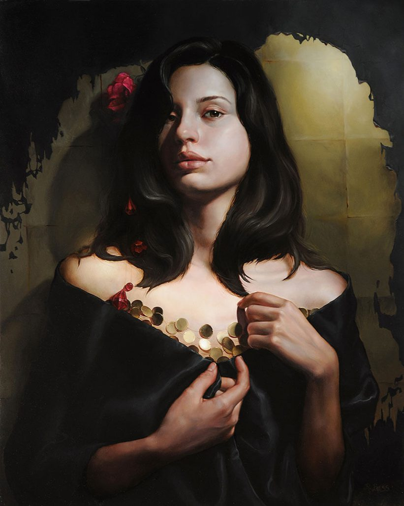 Rachel Bess - Peeling Off the Darkness, 2015, oil on panel, 18 by 14.5 inches painting, 25.25 by 22 framed