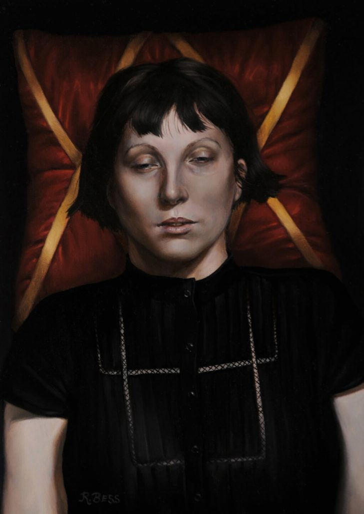 Rachel Bess - Post-Mortem Self Portrait, 2014, oil on panel, 7 by 5 inches