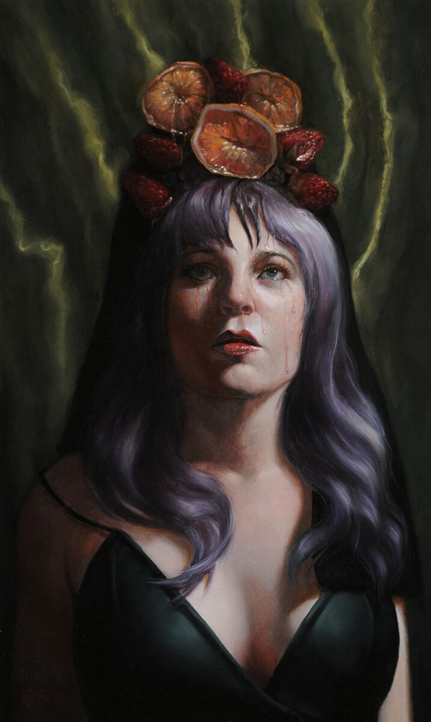 Rachel Bess - Realization that Time Cannot be Persuaded, 2016, oil on panel, 10 by 6 inches