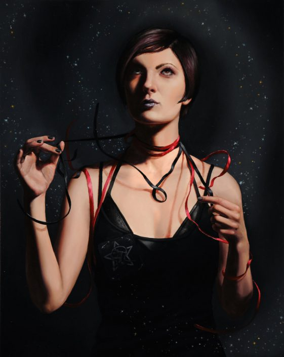 Rachel Bess - Sister of Mercy in Ribbons, 2011, oil on panel, 10 by 8 inches