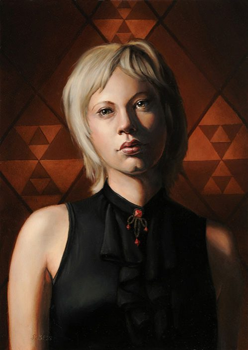 Rachel Bess - Young Widow, 2015, oil on Dibond, 7 by 5 inches, 11 by 9.25 framed