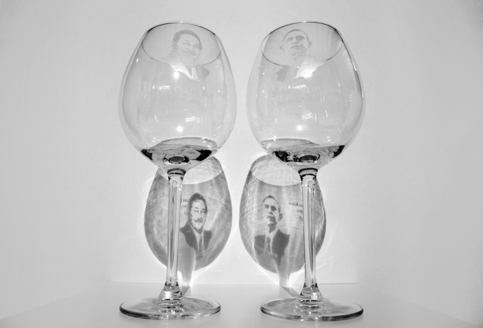 The Glass II 2015, 2 etched glasses, size variable