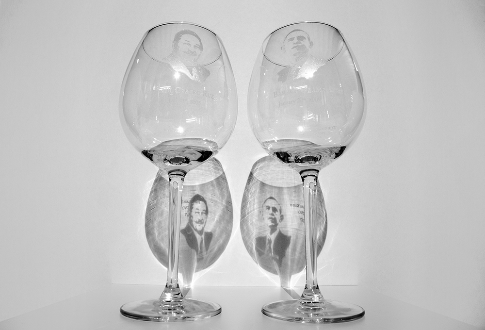 Reynier Leyva Novo - The Glass Kiss II, 2015, 2 etched glasses, size variable