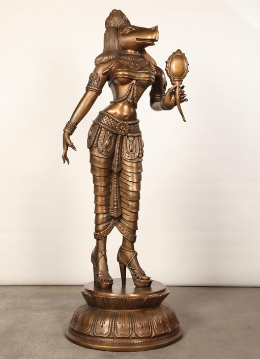 Siri Devi Khandavilli - Darpana Sundari, 2014, bronze, 80 by 30 by 30 inches