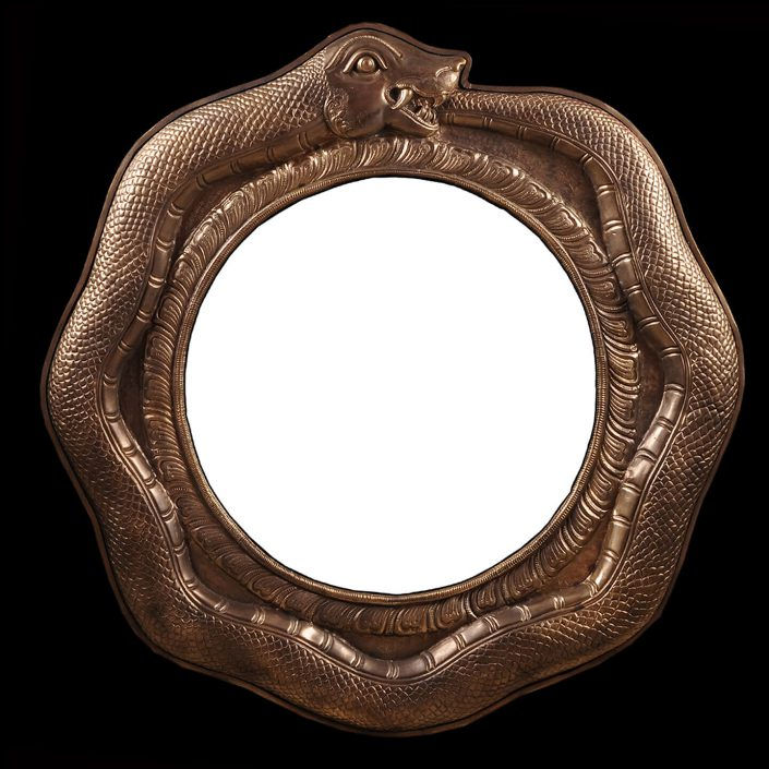 Siri Devi Khandavilli - Reflections (Ouroboros), 2015, cast bronze, mirror, 32 by 32 by 3 inches, unique