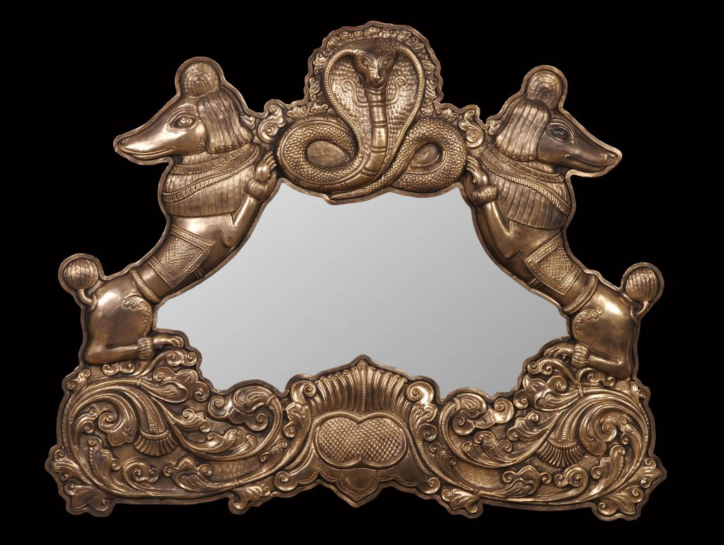Siri Devi Khandavilli - Reflections (Twin poodles with cobra mirror), 2015, cast bronze, mirror, 29.5 by 38 by 3 inches, unique