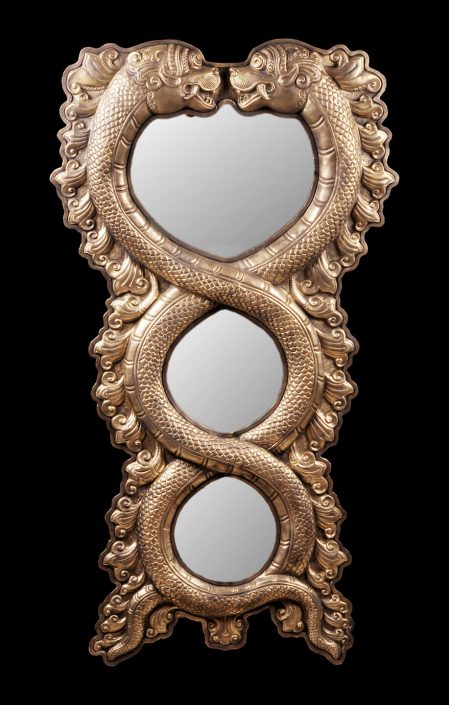 Siri Devi Khandavilli - Reflections (Triple entwined serpents), 2015, cast bronze, mirror, 43 by 22 by 3.5 inches, unqiue