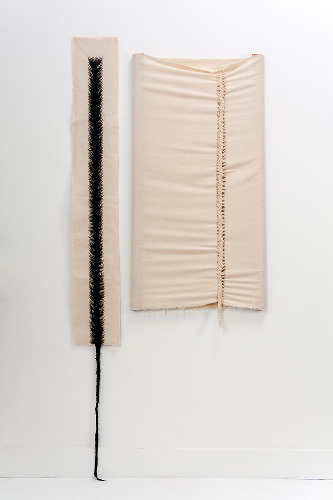 Sonya Clark - French Braid and Cornrow, 2013, cloth, thread, wood, 84 by 40 by 2 inches