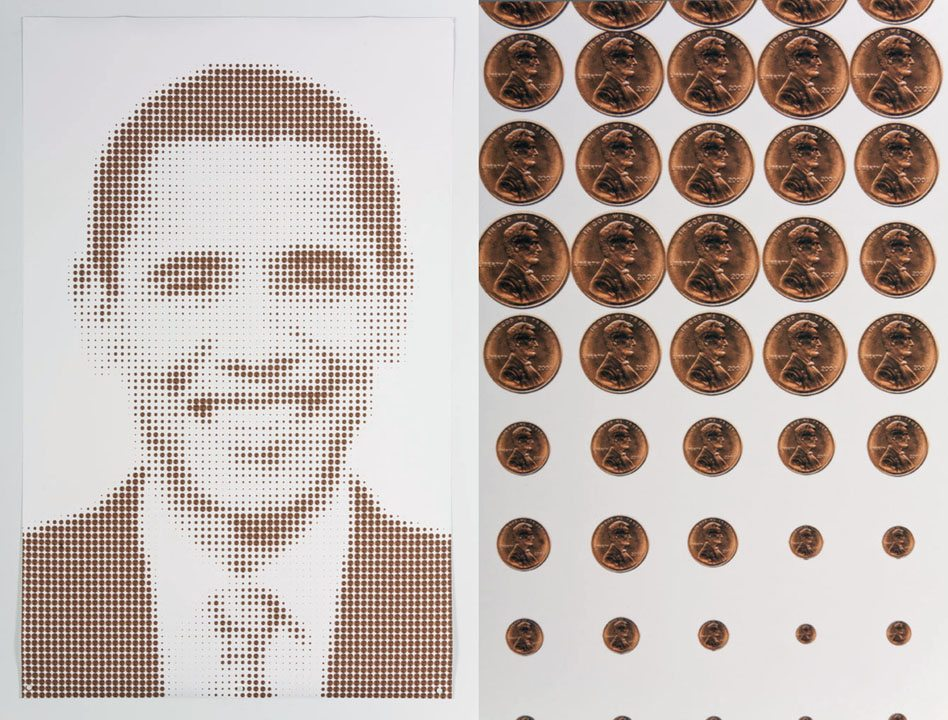 Sonya Clark - Obama and Lincoln (Penny Portrait) (with detail on right), 2011, inkjet print, 67 by 42 inches
