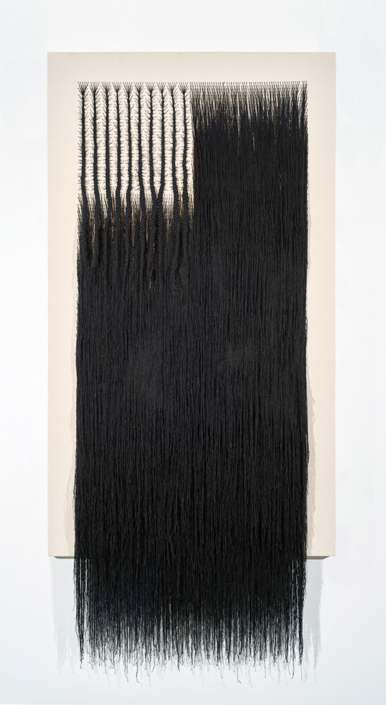 Sonya Clark - Octoroon, 2018, canvas and thread, 83 by 38.25 inches