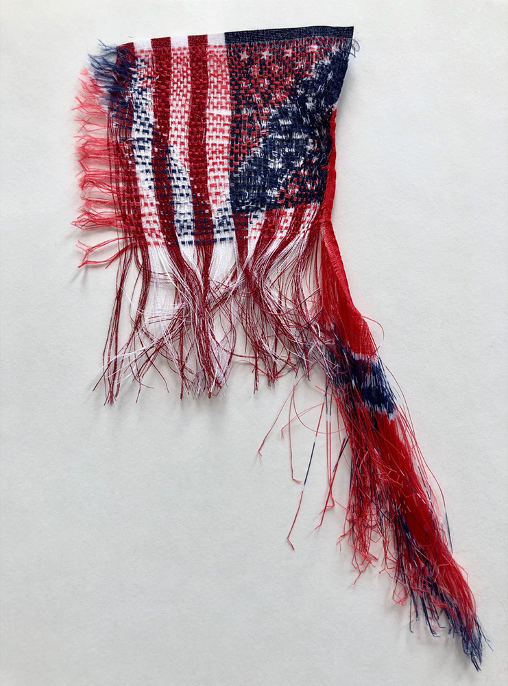 Sonya Clark - These Days, This Country, This History, 2019, unwoven and rewoven commercially printed flags (American & Confederate Battle Flag), 10 by 7 inches