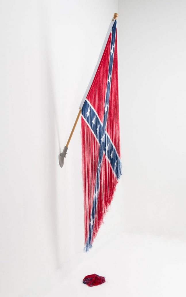Sonya Clark - Unraveled Persistence, 2016, deconstructed nylon Confederate Battle Flag threads, flag pole, 104 by 24 by 8 inches