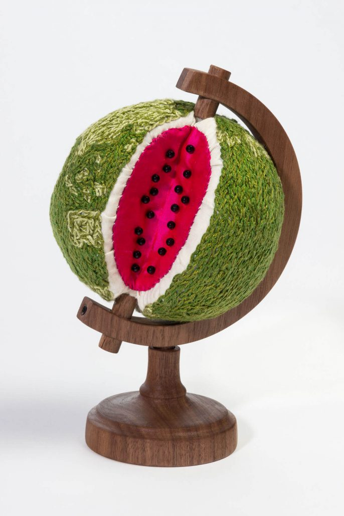 Sonya Clark - Watermelon World (SOLD), 2014, wood, cotton, embroidery, pins, 7 by 5 by 5 inches