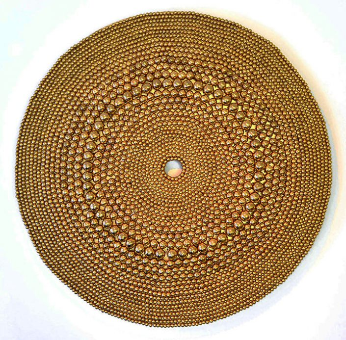 Xawery Wolski - Circulo Dorado II (Gold Circle) (SOLD), 2013, terracotta, gold glaze, 35.5 inches diameter