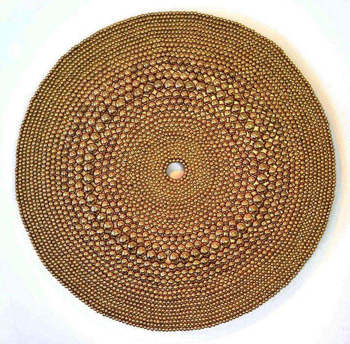 Xawery Wolski - Circulo Dorado II (Gold Circle) (SOLD), 2013, terracotta, gold glaze, 35.5 inches diameter