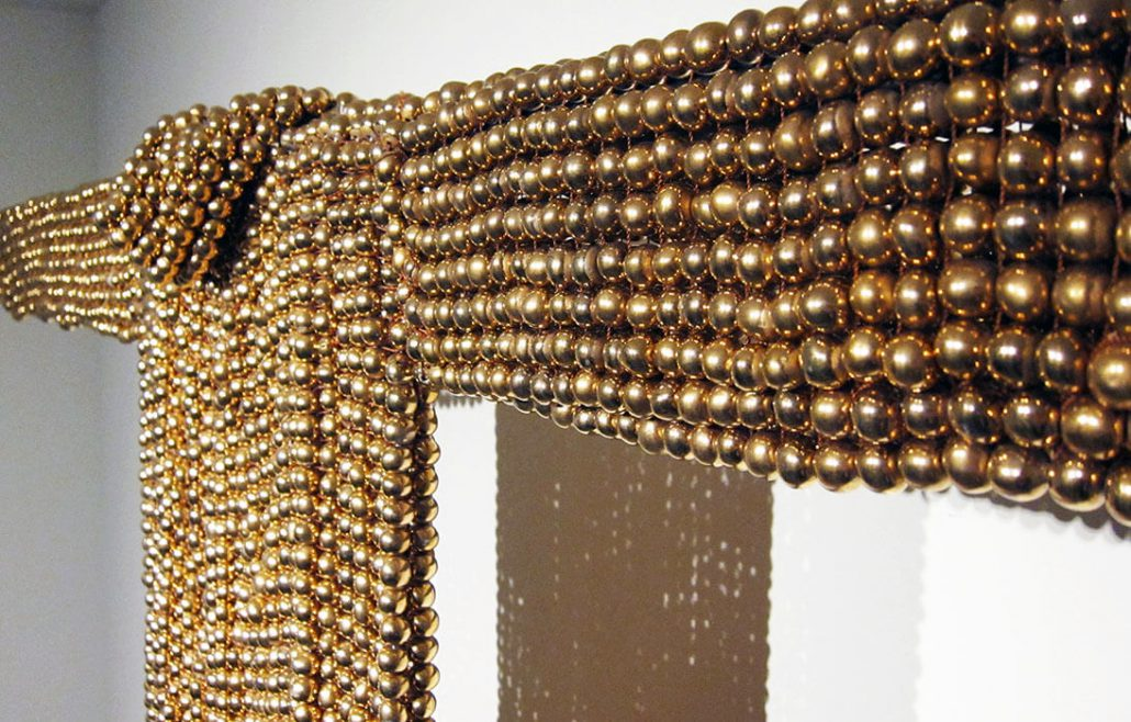 Xawery Wolski - Gold Dress I (detail), 2015, terracotta, gold glaze, 67 by 60 by 3 inches