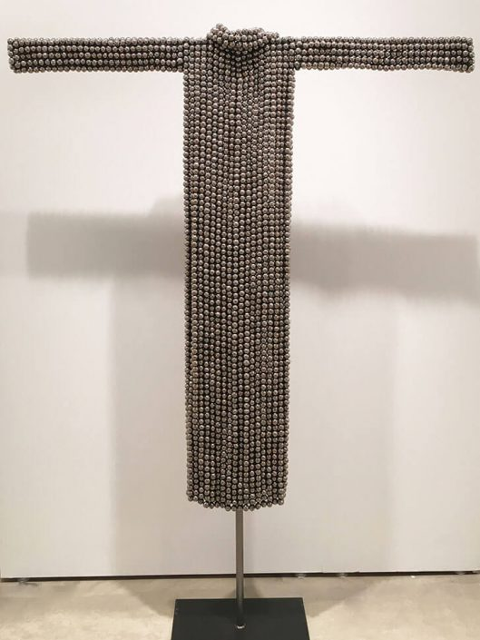Xawery Wolski - Platinum Dress (SOLD), 2015, terracotta, platinum glaze, 63.8 by 59 by 6.7 inches