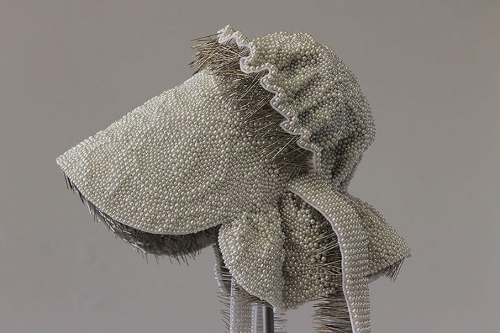 Angela Ellsworth - Seer Bonnet XXVIIII (Rhoda) (detail) (SOLD), 2015-2016, 19,136 pearl corsage pins, fabric, steel, 30 by 13 by 14 inches