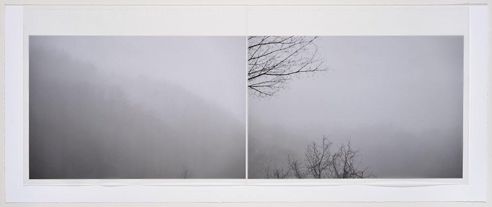 Marie Navarre - as light passes through us, 2016, rag paper, digital rag paper, digital vellum, silk thread, 18.5 by 42 inches framed