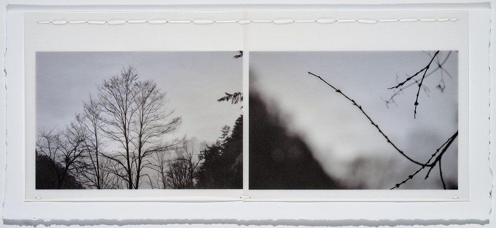 Marie Navarre - feeling space, 2016, rag paper, digital rag paper, digital vellum, silk thread, 4.5 by 10.5 inches