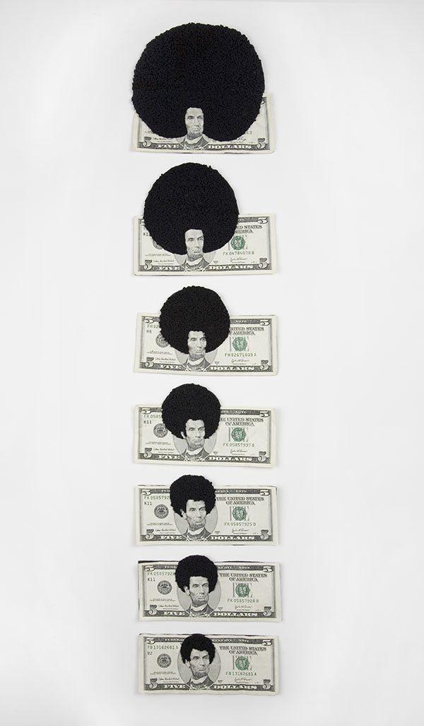 Sonya Clark - Afro Abe Progression (SOLD), 2008, five dollar bills, thread, 36.5 by 12.5 inches framed