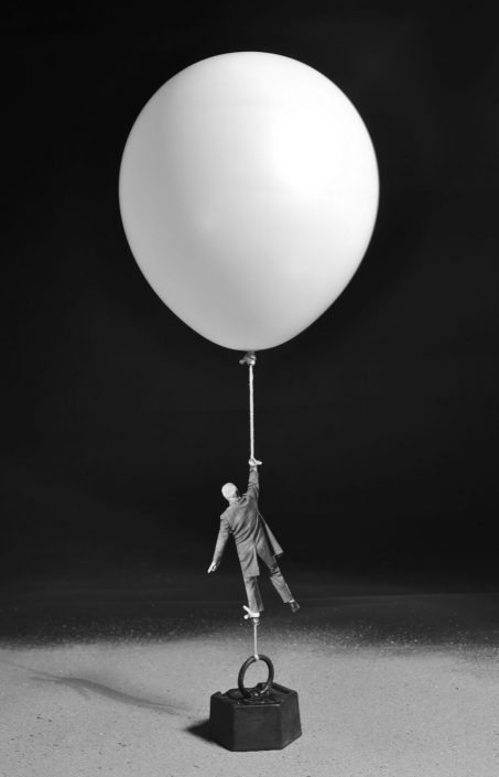 Gilbert Garcin - 438 - Icare contrecarré (Icarus thwarted), 2012, gelatin silver print,12 by 8 inches, 16 by 12 inches, or 24 x 20 inches