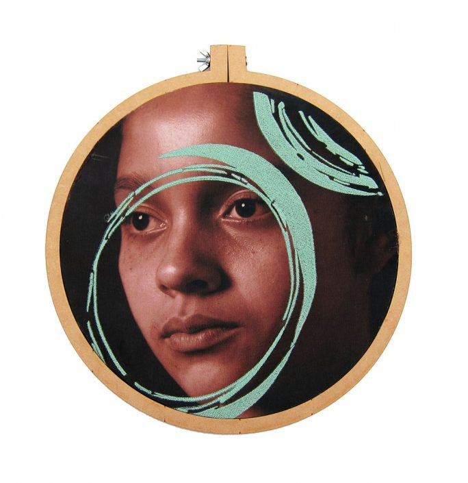 Luis González Palma - Mobius, 2016, photograph printed on taffeta, thread, wooden embroidery hoop, 12.5 inch diameter