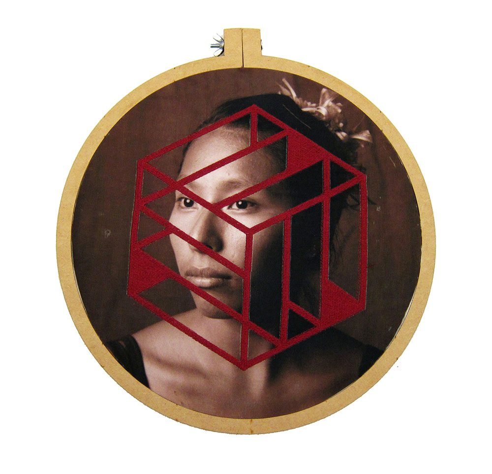 Luis González Palma - Mobius, 2016, photograph printed on taffeta, thread, wooden embroidery hoop, 12.5 inch diameter