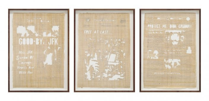 Jamal Cyrus - Kennedy King Kennedy, 2015, laser-cut Egyptian papyrus backed with handmade paper, 3 at 27 by 16.75 inches each framed
