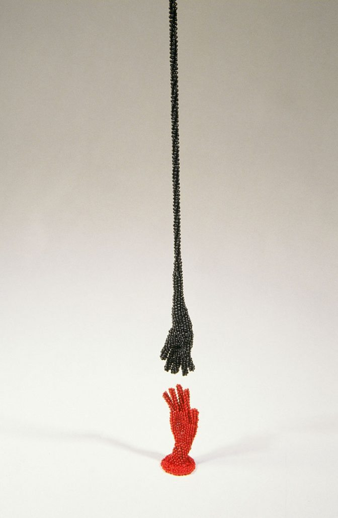Sonya Clark - Touch (detail), 2002 glass beads, 108 by 1.5 by 1.5 inches