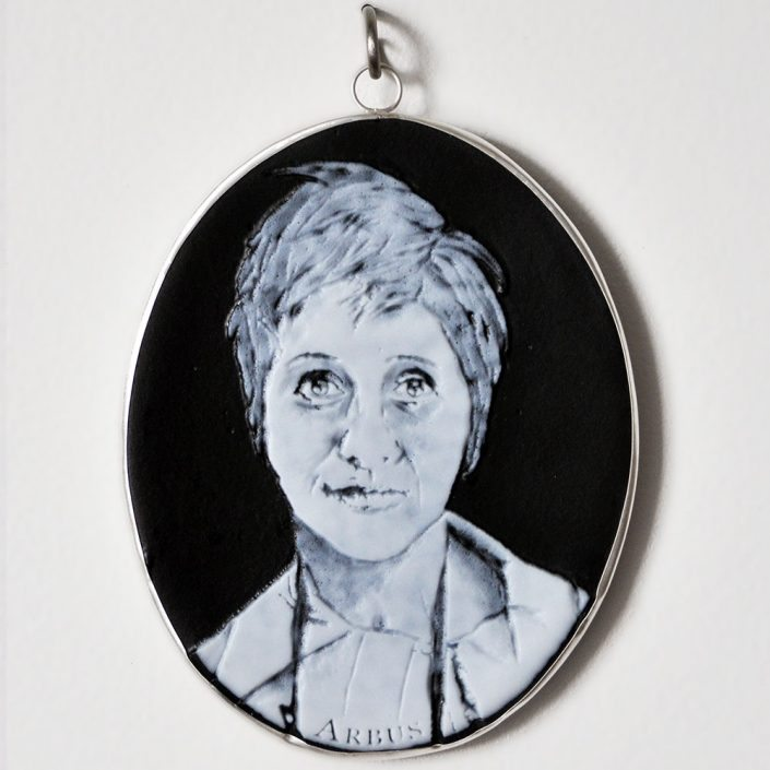 Charlotte Potter - Cameographic - Diane Arbus, 2017, hand engraved glass, silver, tin, stainless steel, 5 by 4 inches