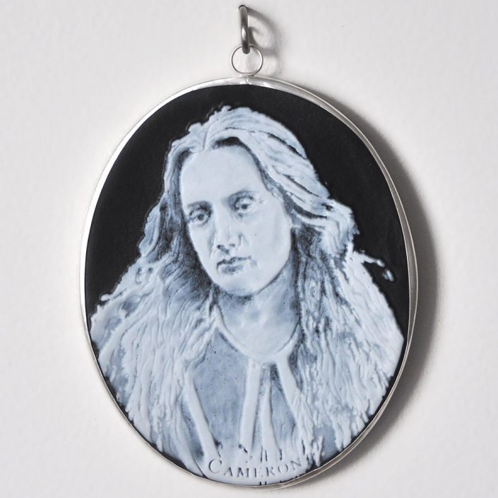 Charlotte Potter - Cameographic - Julia Margaret Cameron, 2017, hand engraved glass, silver, tin, stainless steel, 5 by 4 inches
