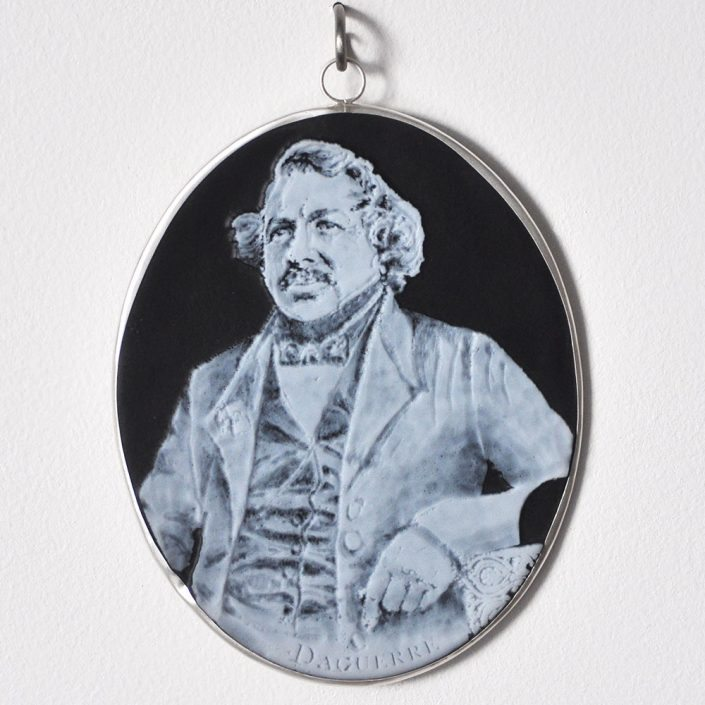 Charlotte Potter - Cameographic - Louis Jacques Mande Daguerre, 2017, hand engraved glass, silver, tin, stainless steel, 5 by 4 inches