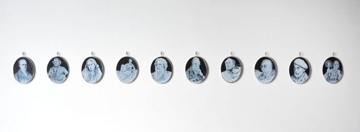"Charlotte Potter - ""Cameographic (installation view of 10 cameos)"""
