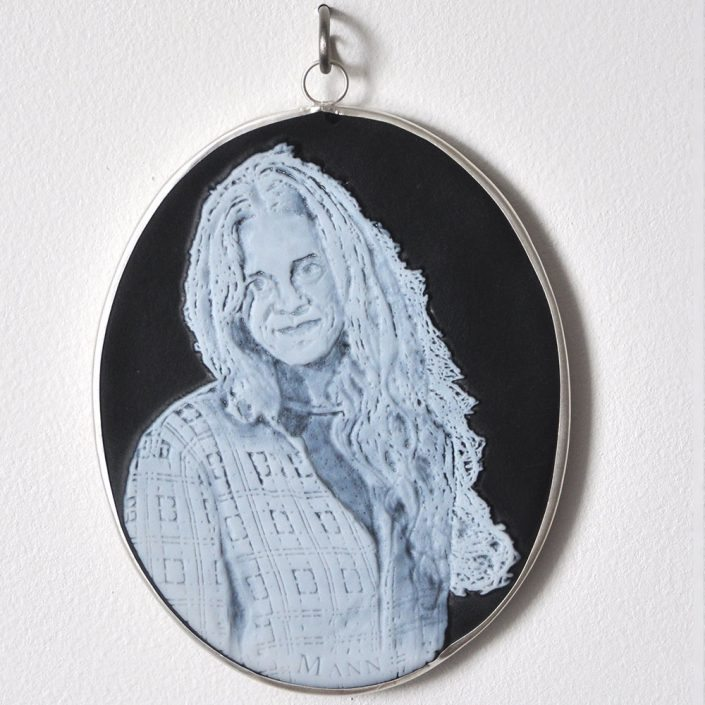 Charlotte Potter - Cameographic - Sally Mann, 2017, hand engraved glass, silver, tin, stainless steel, 5 by 4 inches