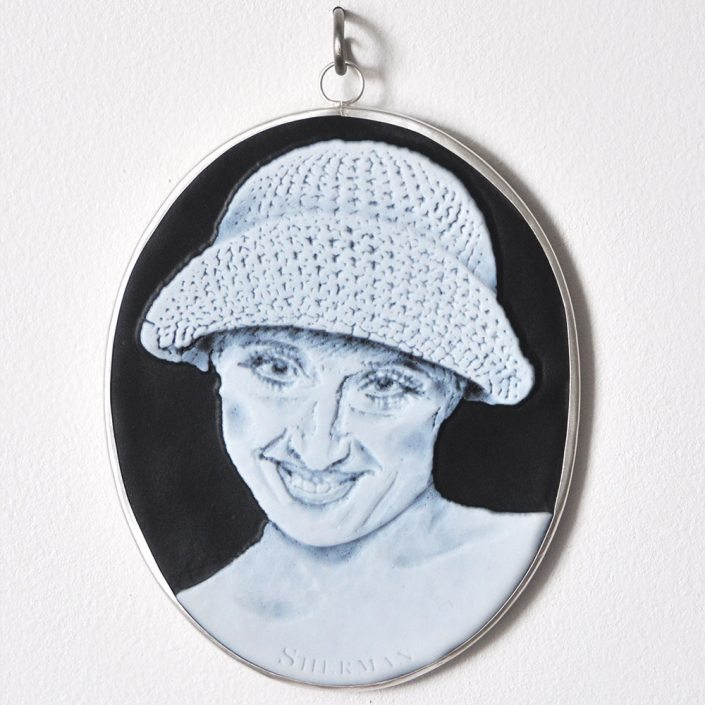 Charlotte Potter - Cameographic - Cindy Sherman, 2017, hand engraved glass, silver, tin, stainless steel, 5 by 4 inches