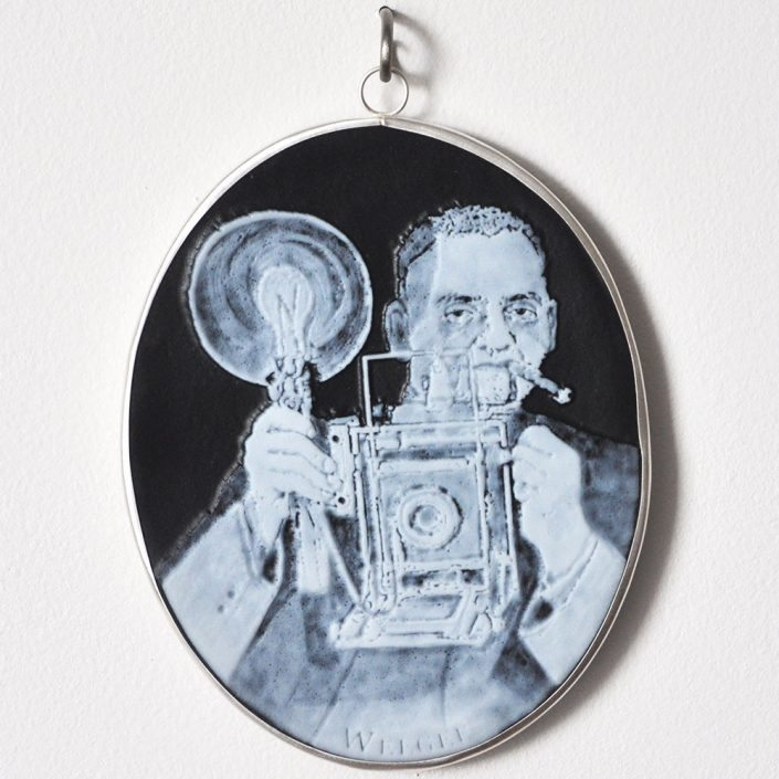Charlotte Potter - Cameographic - Arthur Fellig Weegee, 2017, hand engraved glass, silver, tin, stainless steel, 5 by 4 inches