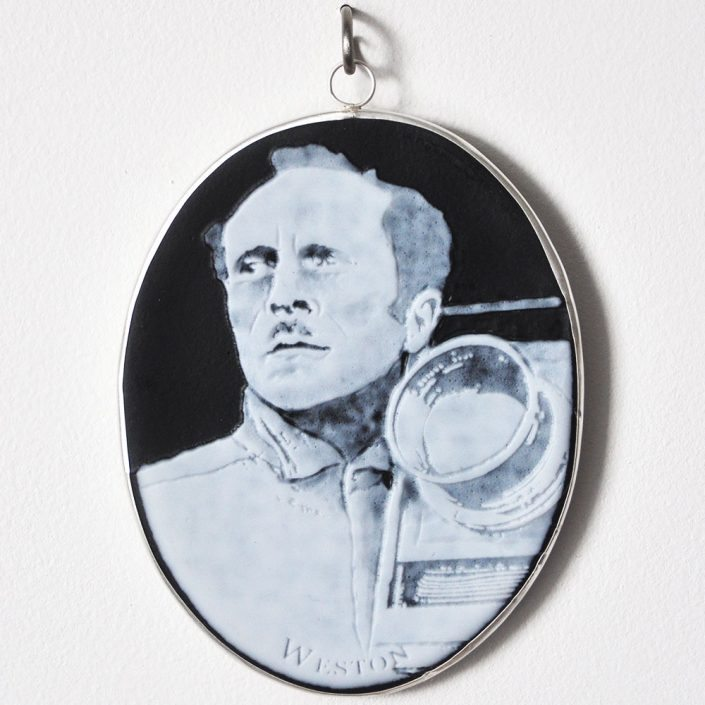 Charlotte Potter - Cameographic - Edward Weston, 2017, hand engraved glass, silver, tin, stainless steel, 5 by 4 inches