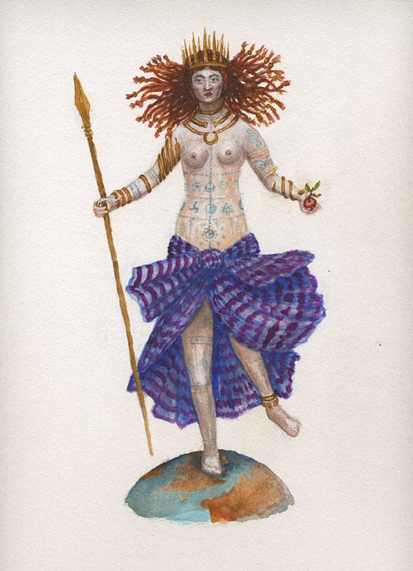 Kahn/Selesnick - Queen of Swords, 2017, gouache and watercolor on paper, 19 by 13 inches
