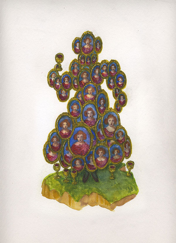 Kahn/Selesnick - Six of Cups, 2017, gouache and watercolor on paper, 19 by 13 inches